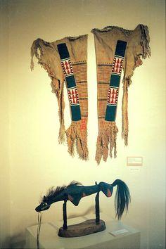 Upper Missouri style bottom tab leggings, sinew beaded strips, antelope hides, old beads / Mark Miller