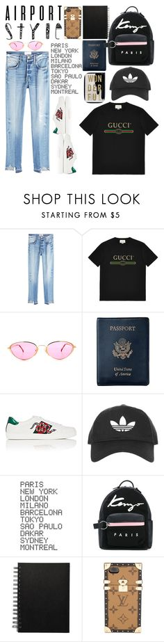 """""""Airport Look"""" by poorvashikalra ❤ liked on Polyvore featuring Frame, Gucci, Royce Leather, Topshop, ADZif, Kenzo, Louis Vuitton and Oliver Gal Artist Co."""