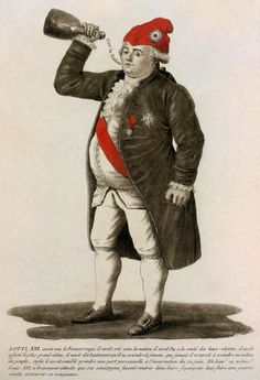 """Tinted etching of Louis XVI, 1792. The caption refers to the date of the Tennis Court Oath and concludes """"The same Louis XVI who bravely waits until his fellow citizens return to their hearths to plan a secret war and exact his revenge."""""""