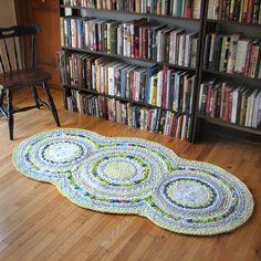 Triple Disc Apple Green and Lemon Yellow Crocheted Rag Rug. $230.00, via Etsy.
