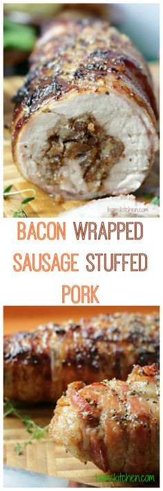 Bacon Wrapped Sausage Stuffed Pork Tenderloin - Healthy World Cuisine Healthy World Cuisine A lean pork tenderloin stuffed with spicy italian pork sausages and herbs, wrapped in pieces of crispy bacon and a spicy pepper crust. Sausage Recipes, Pork Recipes, Cooking Recipes, Game Recipes, Chicken Recipes, Bacon Wrapped Sausages, Pork Sausages, Bacon Wrapped Pork Tenderloin, Pork Loin