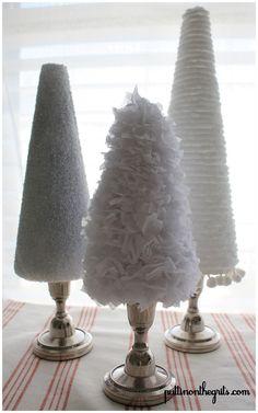 DIY christmas trees on candle sticks