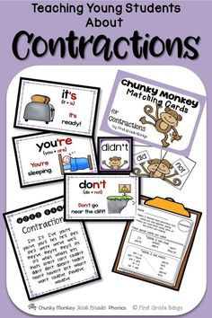 A great introduction to contractions - includes matching cards, a word bank, printables, and an engaging mini-book for sentence decoding.