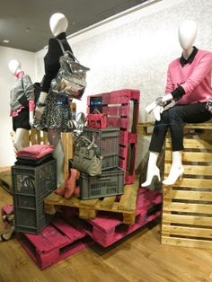 John Lewis, London Pallets make are eco-friendly #visual merchandising. Also buy used mannequins from Mannequin Madness.com