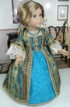 Turquoise/Gold Dress fits 18 inch doll American Girl such as Felicity Elizabeth