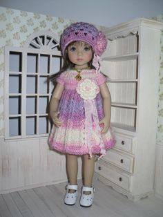 Set for Dianna Effner Little Darling 13 inches doll - dress, hat and necklace. by LittleGiftCove on Etsy https://www.etsy.com/listing/263423550/set-for-dianna-effner-little-darling-13
