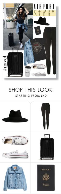 """""""Airport Style"""" by musicislife-983 ❤ liked on Polyvore featuring Yves Saint Laurent, Topshop, Converse, Tumi, H&M and Royce Leather"""