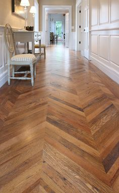 I love this design for a hall! and again this is reclaimed wood flooring.