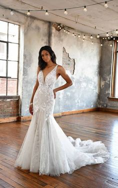 Head-to-toe lace gives this wedding dress a soft, delicate feel, and a striking silhouette made for the modern boho bride. The lace is textured with subtle sparkle for an extra hint of romance. The deep V-neckline is supported with sheer straps, and the back is boldly bare with delicate straps to add extra detail and support. Lace appliques cascade down the bodice and into the underlayers of the skirt, creating a frothy ballerina-inspired masterpiece.  All Who Wander   Style: LEYLA Sweet Wedding Dresses, Fit And Flare Wedding Dress, Fit N Flare Dress, Wedding Dress Styles, Tulle Wedding, Bridal Elegance, Essense Of Australia, Boho Bride, Bridal Style