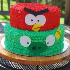 Angry Birds Birthday cake- red bird squashing king pig.