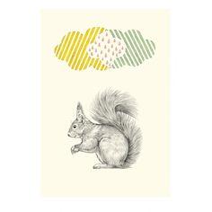 <p>Carte postale simple écureuil sous nuage, finition mate , design Brikki vroom vroom. Pour envoyer de jolies nouvelles ou l'utiliser en décoration dans son bureau ! On aime la délicatesse du dessin et les petites touches colorées.</p>