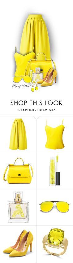 """Pop of Yellow!"" by sarahguo ❤ liked on Polyvore featuring Delpozo, Versus, Dolce&Gabbana, MAC Cosmetics, Karen Walker, Rupert Sanderson and Effy Jewelry"