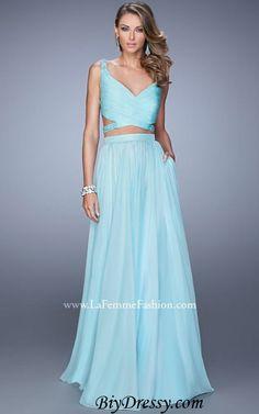 La Femme 21152 Light Mint Straps Beaded Prom Dresses