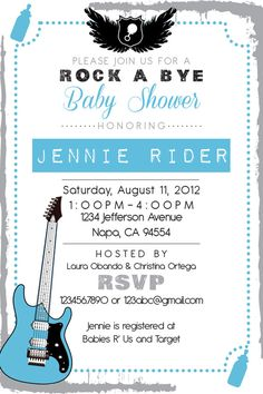Printable Rock Star Baby Shower 4x6 or 5x7 by PuzzlePrints on Etsy, $15.00