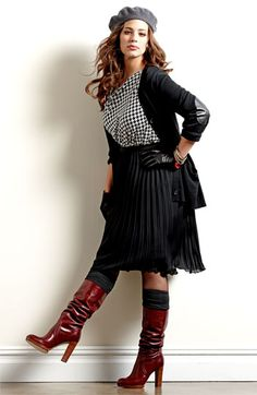 I like the styling of this.  Vince Camuto Asymmetric Houndstooth Top #plussize