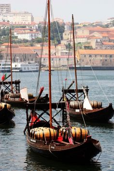 Rabelo boats, transporting Port Wine barrels in Douro river  - Portugal