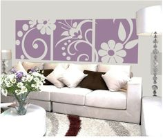 Floral Wall Decals - Vinyl Wall Decal Sticker Art - Elegant Three Panel Floral Motif