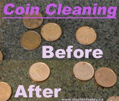 Cleaning pennies. A how-to and solution formula using home ingredients. Safe for kids. They'll love changing pennies in seconds!    #coins #science #scienceexperiments #kids #scienceforkids