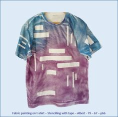Fabric painting on t-shirt - Stencilling with tape - Albert's design No 1