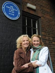 Hayley Mills and Juliet Mills attend a plaque unveiling for their father, the late actor, Sir John Mills at Pinewood Studios, London.