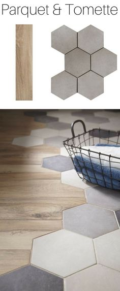 A trendy alliance for the floor: parquet & tomette Kitchen Tiles, Kitchen Flooring, Diy Kitchen, Kitchen Wood, Kitchen Cabinets, Kitchen Open To Living Room, Shower Cabinets, Hallway Flooring, Deco Design