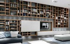 long bookcase system modern design on solid wood