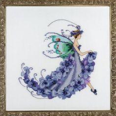"NORA CORBETT ""Wisteria""   Pixie Blossoms Collection by Designer Nora Corbett   NC199 Includes Cross Stitch Pattern, Bead Pack & #4 Braids"