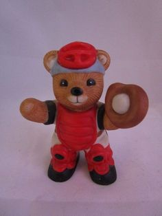 "Vintage HOMCO SPORTS BEARS Catcher Baseball 3"" Porcelain Bear"