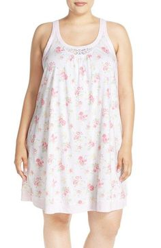 Midnight by Carole Hochman Floral Cotton Chemise (Plus Size)