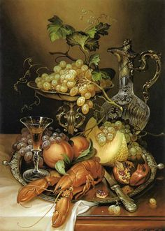 картины художника ~ Shellfish Mixed With Peaches And Pomegranates Seem Wrong. It Must Have Sat There Among The Grapes For So Long, That Even The Melon Must Pong! Fruit Painting, Oil Painting On Canvas, Flower Vases, Flower Art, Decoupage, Still Life Artists, Still Life Images, Still Life Fruit, Painting Still Life