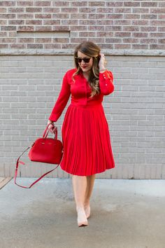 Versatile Red Dress for Errands or the Office | Jean Jacket Starbucks Coffee coffeebeansandbobbypins.com Fashion blog blogger photo photographer photography  NC North Carolina Red Purse Nude Heels