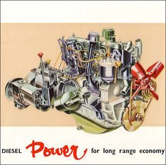 The 2-litre diesel engine of Rover design and construction gives further versatility to the LandRover by increasing its efficiency and economy in conditions favouring diesel operation. A truly rugged, four-cylinder unit, the Rover diesel engine develops 51 b.h.p. at 3,500 r.p.m. Its speed range is sufficiently close to that of the Land-Rover petrol engine to enable the same transmission units to be used.