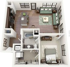 Floor plans - one bedroom tiny house κατόψεις σπιτιών, σχέδι One Room Apartment, Apartment Floor Plans, Apartment Layout, Apartment Design, Apartment Ideas, Apartment Living, Living Room, Small Apartment Plans, Living Spaces