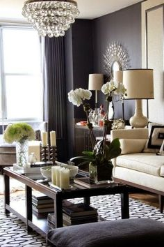 beautiful black and white living room Robert abbey crystal chandelier