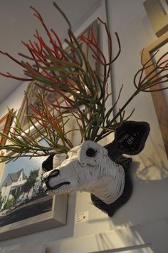 """Oh Dear"" by Magda van der Vloed  #AnimalSculptures, #RepurposedDecoration, #Trophy"