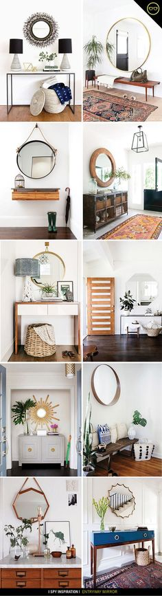 Interior design Studio Entryway - I have been playing around with the entryway of the studio, and love the idea of adding a big hanging mirror! In true Jenni style, I bought multiple options an oversized circle one, a thrifted hexago Living Room Colors, Bedroom Design, Interior Design Bedroom, Interior Design, Home Decor, House Interior, Room Decor, Apartment Decor, Interior Design Living Room Warm
