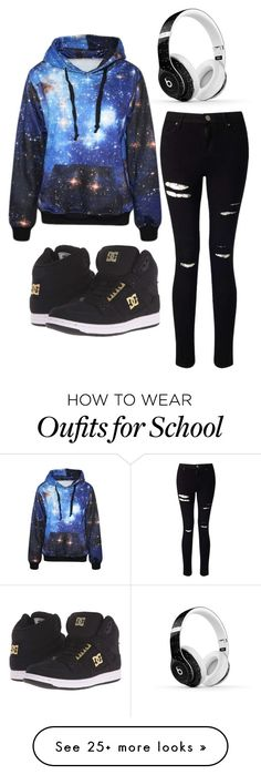 Back to school by mehisninja on Polyvore featuring Miss Selfridge, DC Shoes and Beats by Dr. Dre