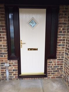 New Windows - Warminster Cream Composite Door with cherrywood woodgrain effect frames and 2 side panels finished with gold hardware House Front Door, Front Doors, Garage Doors, Composite Front Door, Side Panels, Conservatory, Gold Hardware, Wood Grain, Frames
