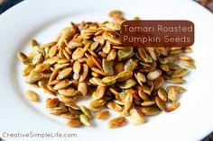 Tamari Roasted Pumpkin Seeds - CreativeSimpleLife.com