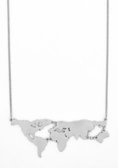 There's a Map for That Necklace in Silver. There are maps for exploring new cities and scenery, and now, theres even a map to wear as a statement necklace! #silver #modcloth