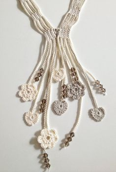 Cream hearts and flowers beaded necklace by GabyCrochetCrafts, £20.00