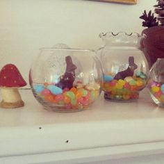"""Easter ~  Candy """"Terrariums"""" in $ store (or thrift) vases - a grouping of these would make a fun (if short-lived) centerpiece arrangement {} from angrychicken blog"""