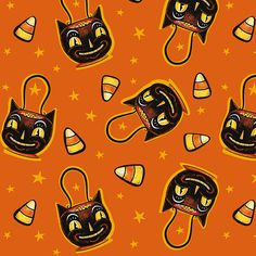 Vintage Halloween Fabric - Trick Or Treat Black Cat By Johannaparkerdesign - Candy Corn Halloween Cotton Fabric By The Metre by Spoonflower Halloween Fabric, Halloween Candy, Vintage Halloween, Happy Halloween, Beistle Halloween, Halloween Prints, Halloween Season, Halloween 2018, Halloween Themes