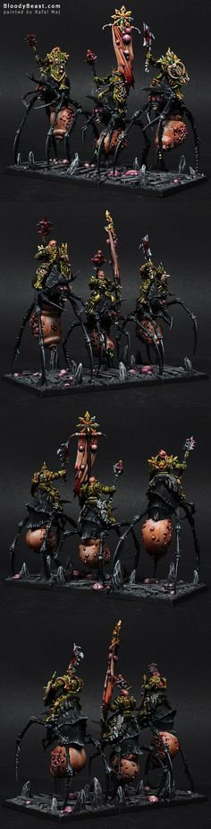 I really love the idea of Nurgle Monstrous Cavalry. At first I was thinking of making Gorebeast rides. But then, we figured out that converting Skullcrushers from Nurgle Drones would be awesome. So...: