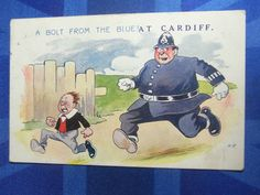 Comic CARDIFF Postcard 1910s Policeman Police Theme - A BOLT FROM THE BLUE