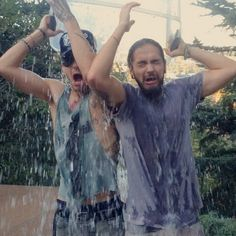 2014.08.23 Bill and Tom accepted the ALS ice bucket challenge! =D <3