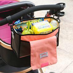 Portable Baby Cart Stroller Bag Diapers Feeding Bottle Pouch Storage Bag Holder Multifunction