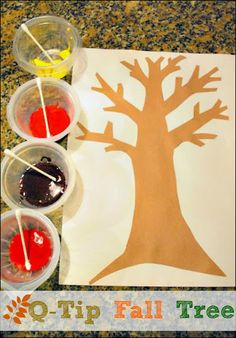 Painting a Q Tip Fall Tree - great fall craft for improving fine motor skills for preschoolers! #homeschool -repinned by @PediaStaff – Please Visit  ht.ly/63sNt for all our pediatric therapy pins
