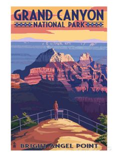 Grand Canyon National Park - Bright Angel Point Prints by Lantern Press at AllPosters.com