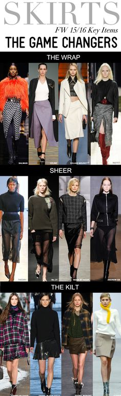 Trend Council:  SKIRTS - FW 15/16 Key Items, The Game Changers:  The Wrap, Sheer, The Kilt